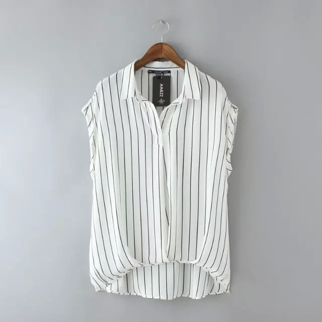 Fashion Summer Office Lady Elegant Stripe Button Blouse ...