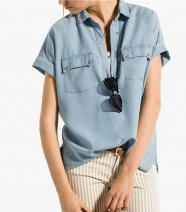 Fashion Summer Women blue Denim blouse short sleeve ...