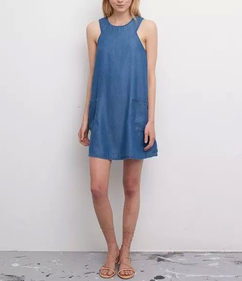 Fashion Summer Women Blue denim Straight Tank Dresses ...