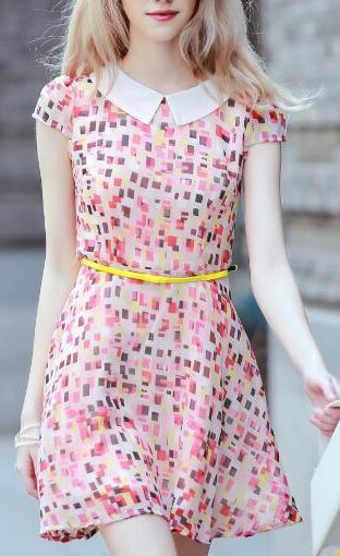 Fashion Summer Women Chiffon pleated Square print Dresses ...