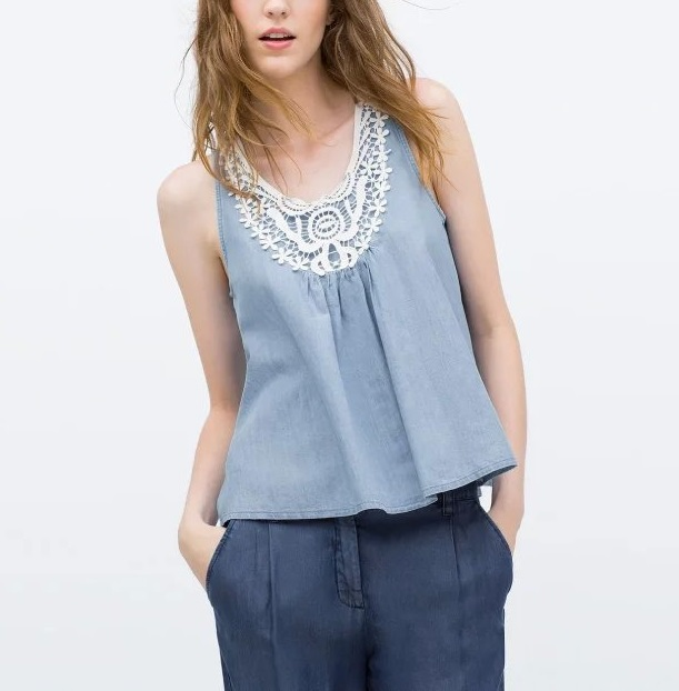 Fashion Summer Women Crochet lace Denim blouse Blue ...