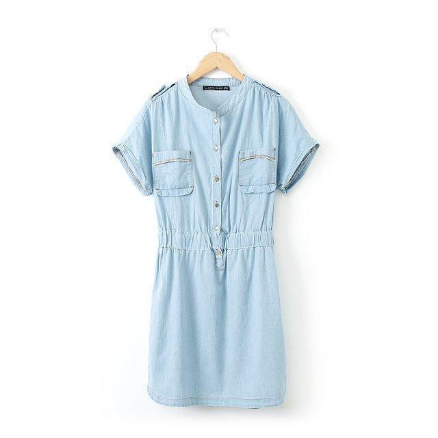 Fashion Summer Women Elastic Waist Tunic Denim Blue ...