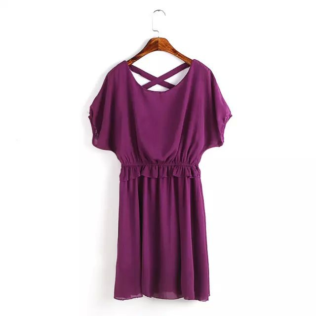 Fashion summer Women Elegant Backless Cross Chiffon ...