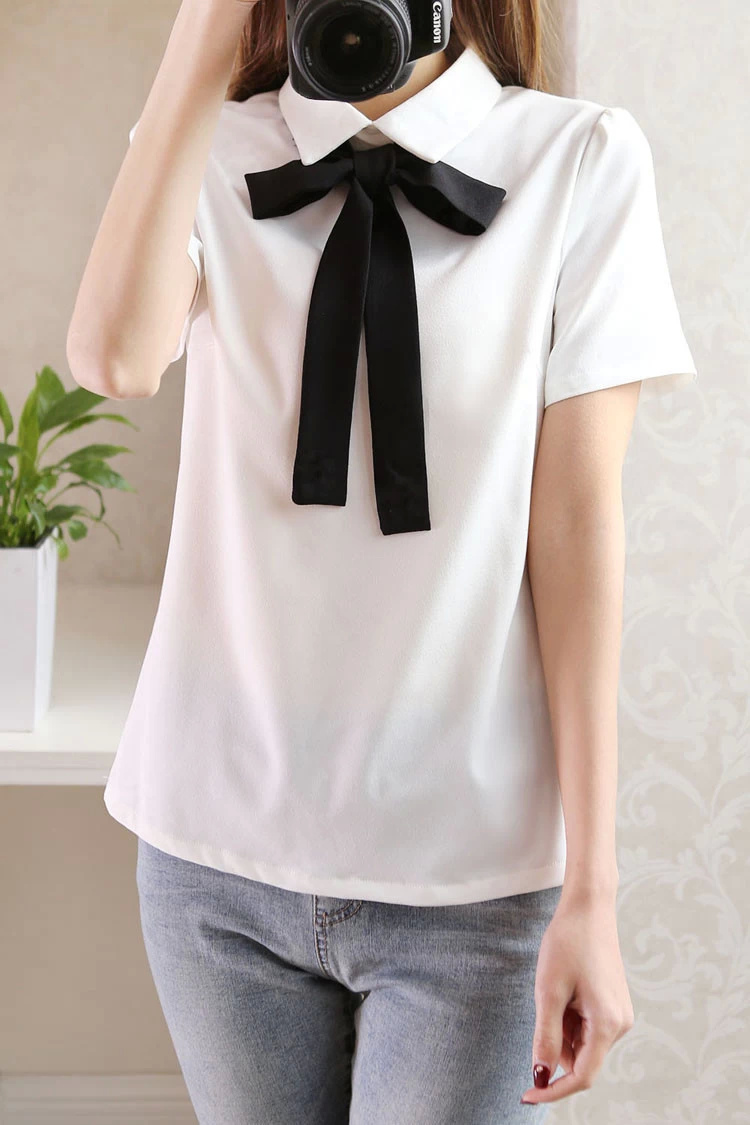 Fashion Summer Women Elegant Chiffon Bow Tie White Blouses ...