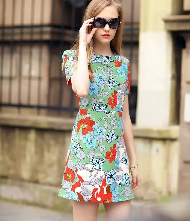 Fashion Summer Women Elegant Floral Green Mini Dresses ...