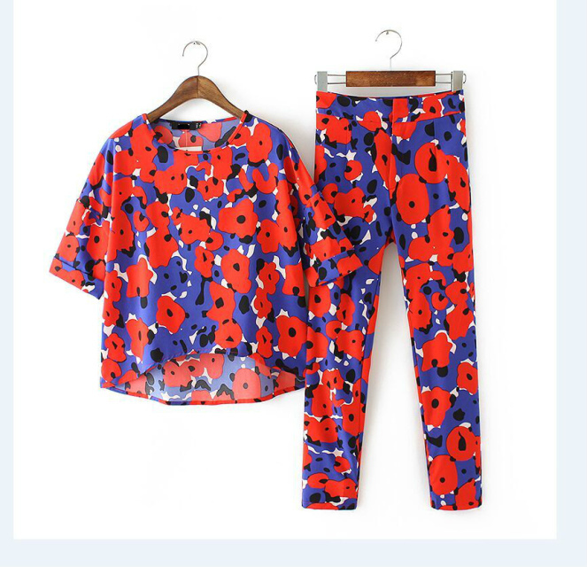 Fashion Summer Women Elegant floral print Blouse And ...