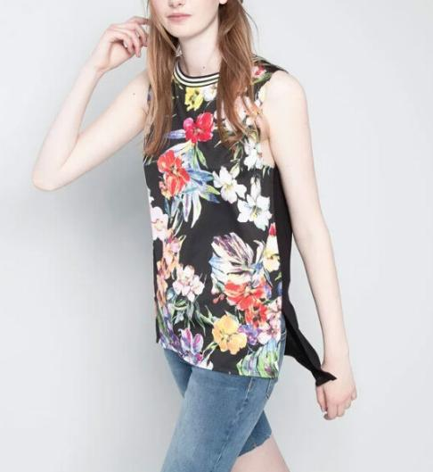 Fashion Summer women Elegant floral print T shirt sleeveless ...