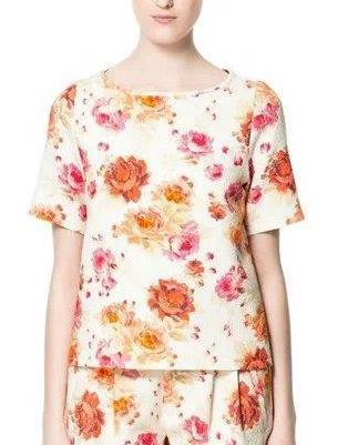 Fashion Summer Women Elegant floral printed Blouse O-...