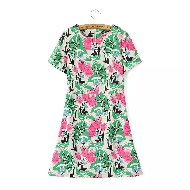 Fashion Summer Women Elegant Green leaf Print Dresses ...