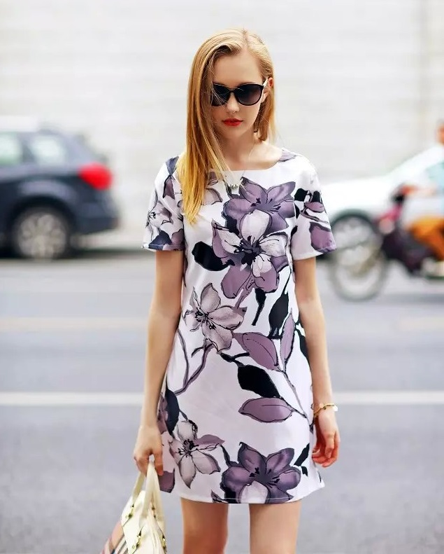 Fashion Summer Women Elegant Ink Floral Print Dresses ...