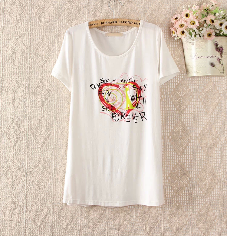 Fashion Summer Women Elegant Love Heart print white ...