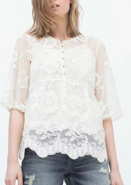 Fashion Summer Women Elegant Mesh Embroidery See Through ...