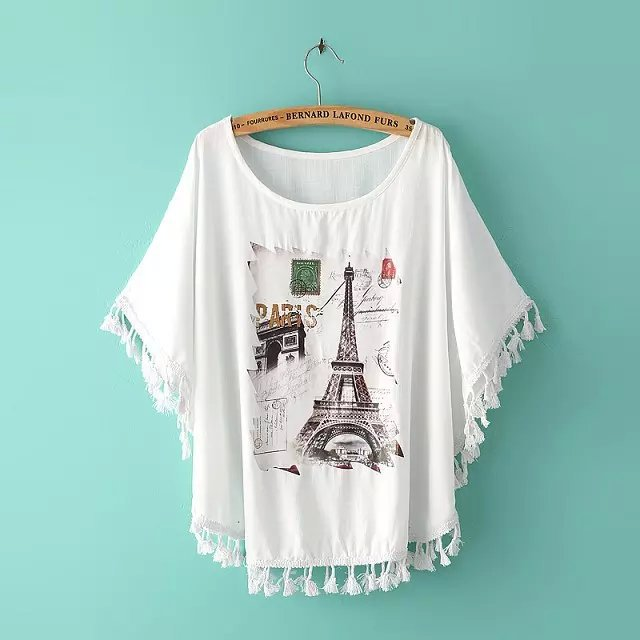 Fashion Summer women Paris Tower Print O neck Tassel ...