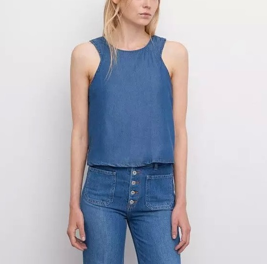 fashion Summer women sexy blue denim shirts sleeveless ...