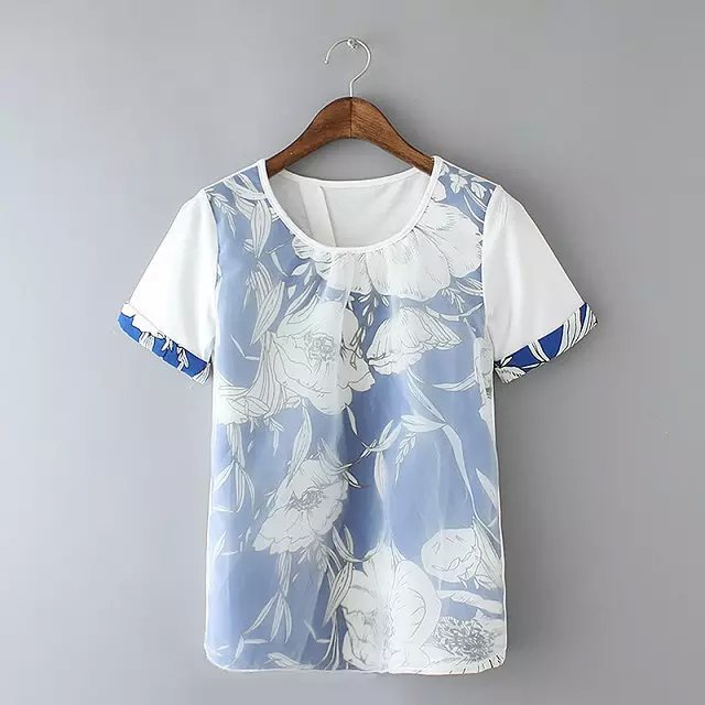 Fashion summer womens elegant Organza patchwork T-shirt ...