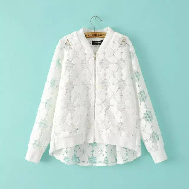 Fashion Summer Womens Zipper floral Flocking White Coat ...