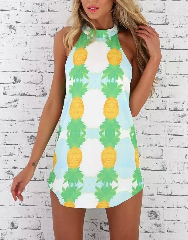 Fashion Woman Summer pineapple print Dress sexy vintage ...