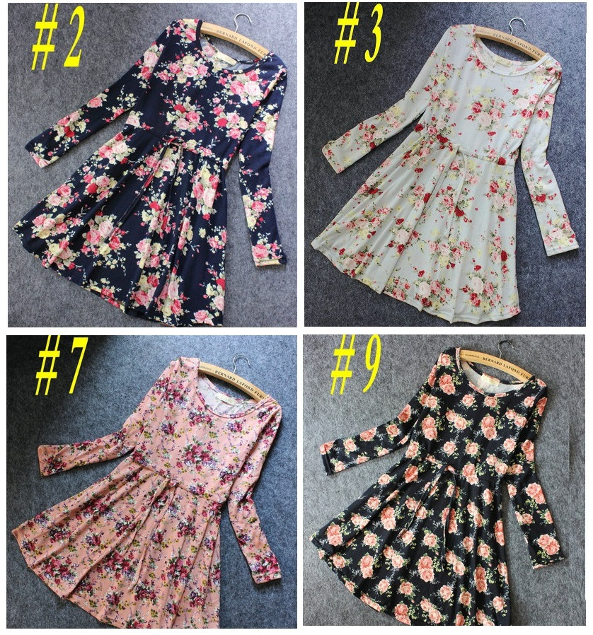 Fashion women autumn dress sweet floral print elastic ...