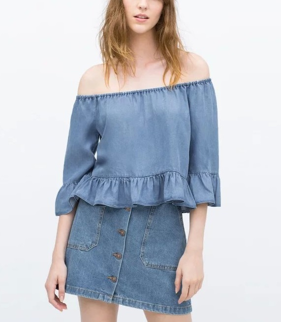 Fashion Women blue Denim blouse Flare Sleeve Shoulder ...