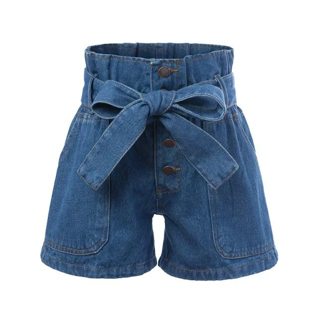 Fashion Women blue denim shorts button knot bow elastic ...