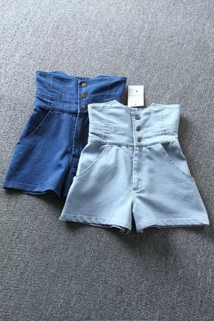 Fashion Women blue denim shorts three button elastic ...