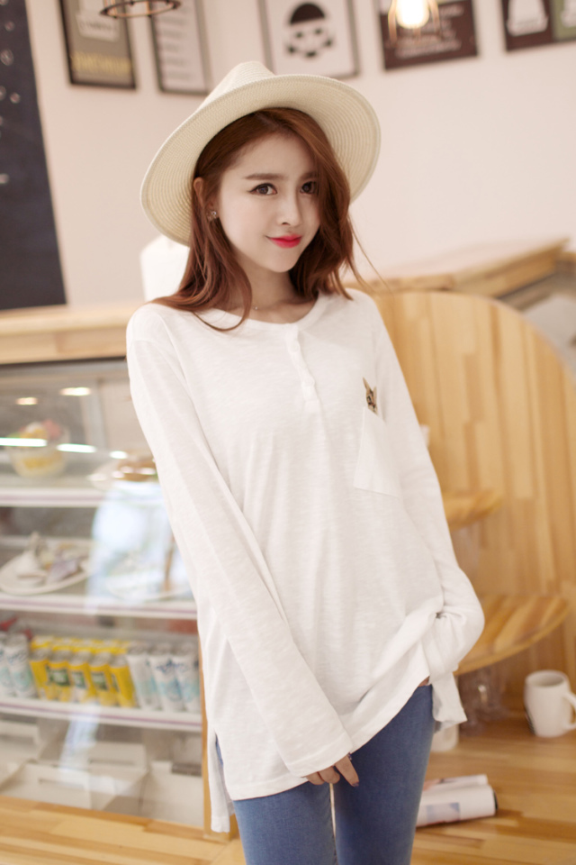 Fashion women cat print Pocket long sleeve O Neck Clothing ...