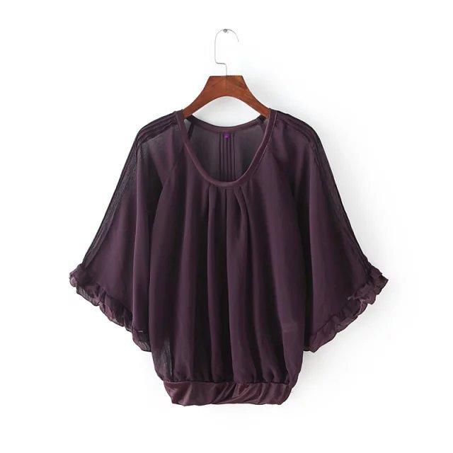 Fashion Women Chiffon Ruffle Blouse Elegant O-neck Lotus ...