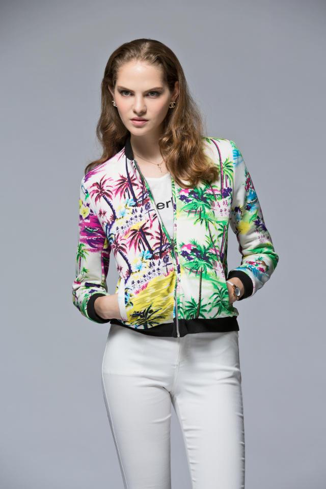 Fashion women colorful tree print coat zipper long sleeve ...