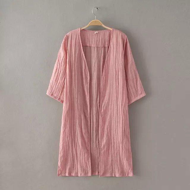 Fashion Women Cotton Linen Cardigan Outwear Loose vintage ...