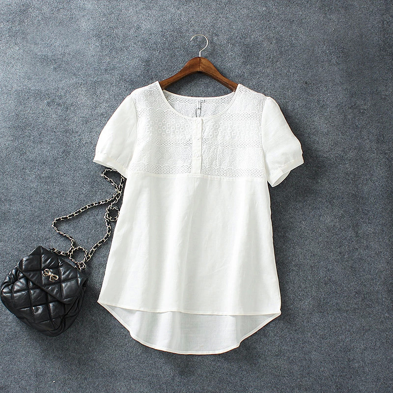 Fashion Women Cotton Linen Elegant Embroidery Hollow ...