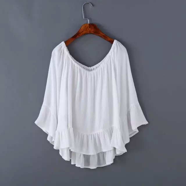 Fashion Women cotton linen Off Shoulder Ruffles blouses ...