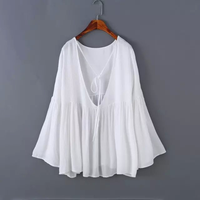 Fashion Women cotton linen Ribbons blouses vintage Flare ...