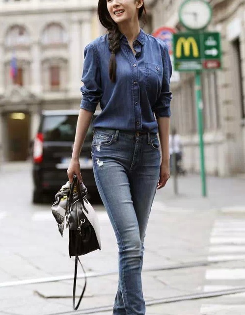Fashion Women Denim blue Blouse Vintage Turn-down collar ...