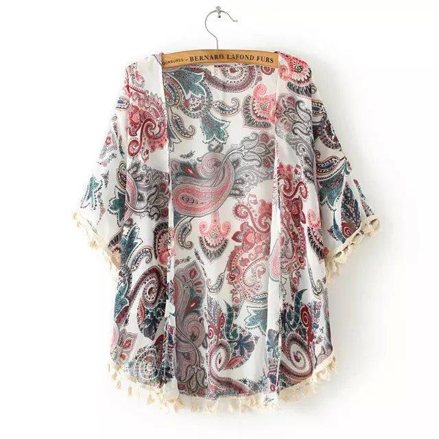 Fashion Women Elegant Beach Chiffon Tassel Kimono Blouse ...