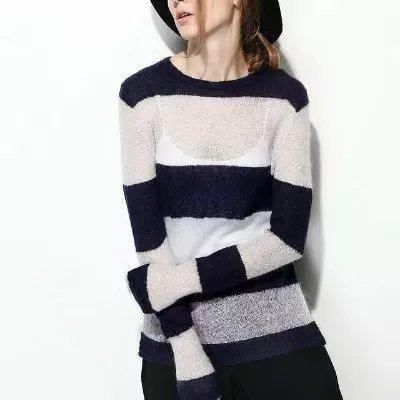 Fashion women elegant black striped print white pullover ...