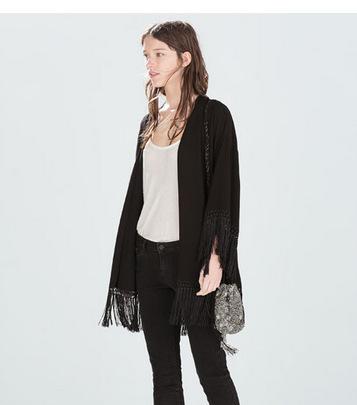 Fashion women elegant black tassel Kimono outwear loose ...