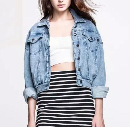 Fashion Women Elegant blue Denim Turn-down collar Jacket ...