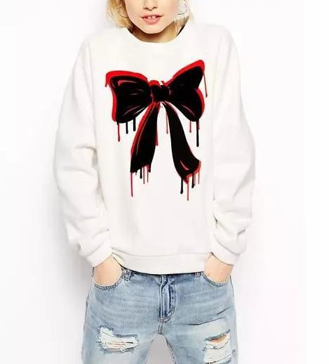 Fashion women elegant bow tie sports pullover outwear ...