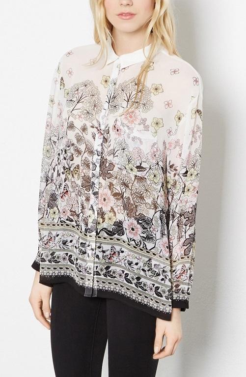 Fashion Women elegant Butterfly floral print blouses ...