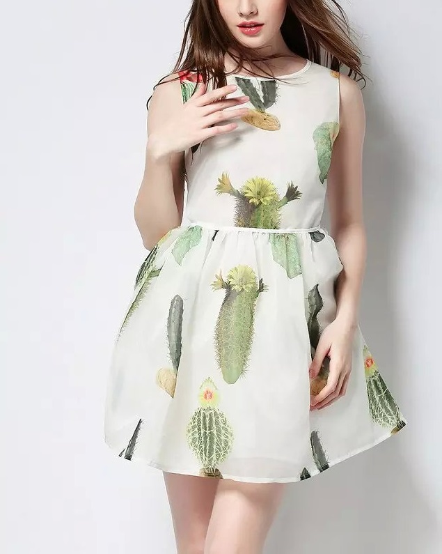 Fashion Women Elegant Cactus Print Organza Mini Dresses ...