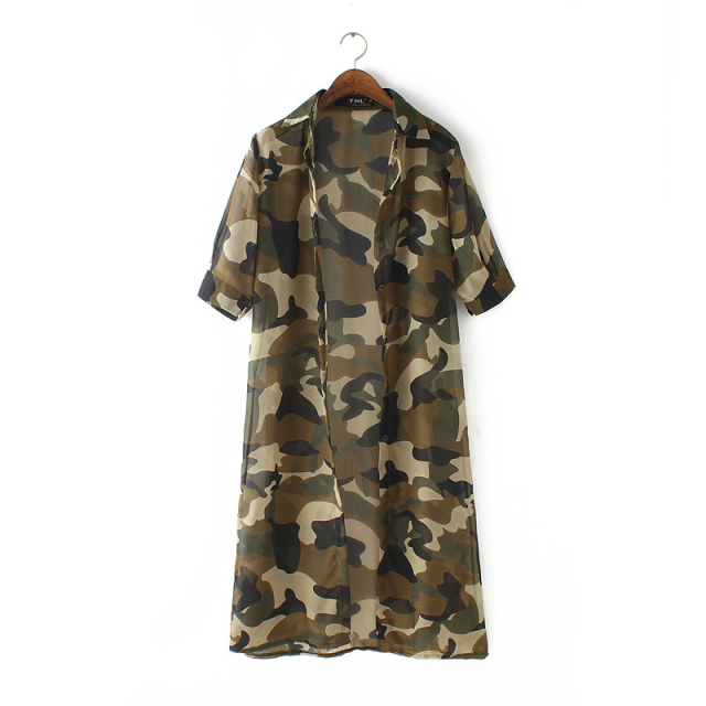 Fashion Women Elegant Camouflage Print Air Conditioning ...