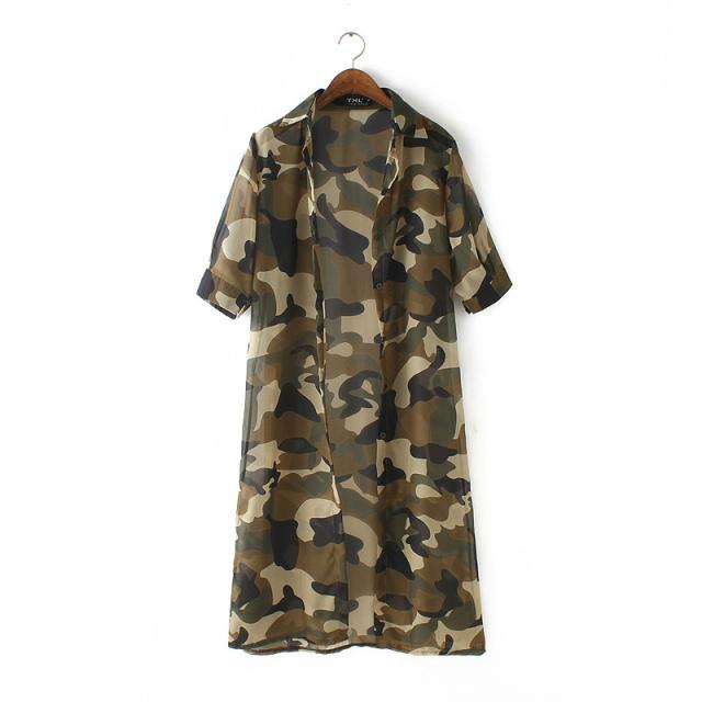 Fashion Women Elegant Camouflage Print Air Conditioning ...