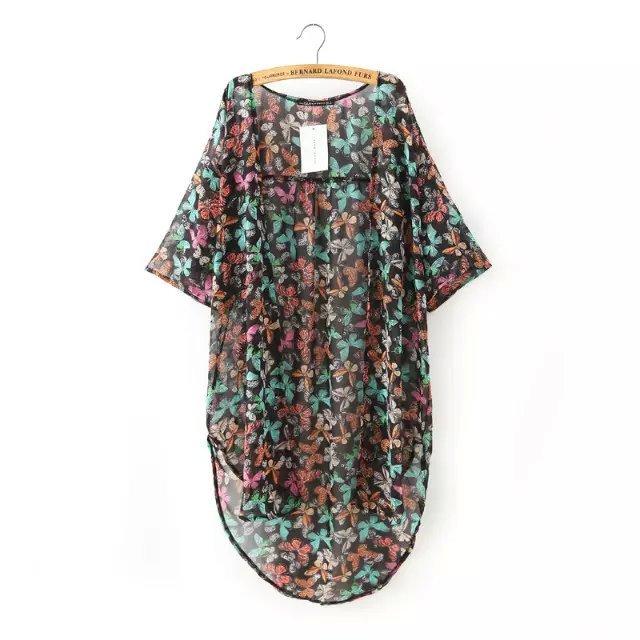 Fashion Women Elegant Chiffon Butterfly Print Air Conditioning ...