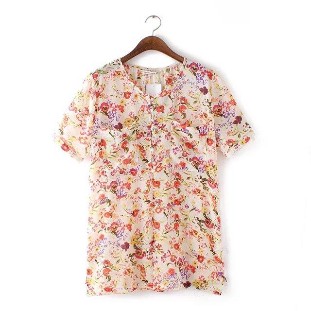 Fashion Women elegant Chiffon Floral print blouses O-...