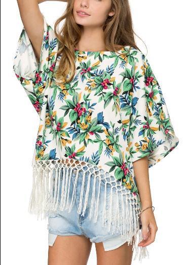 Fashion Women Elegant Chiffon floral print tassel Batwing ...