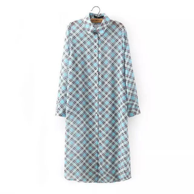 Fashion Women Elegant Chiffon Plaid shirts Dresses Vintage ...