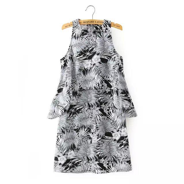 Fashion Women Elegant Chiffon Tree print black Dresses ...