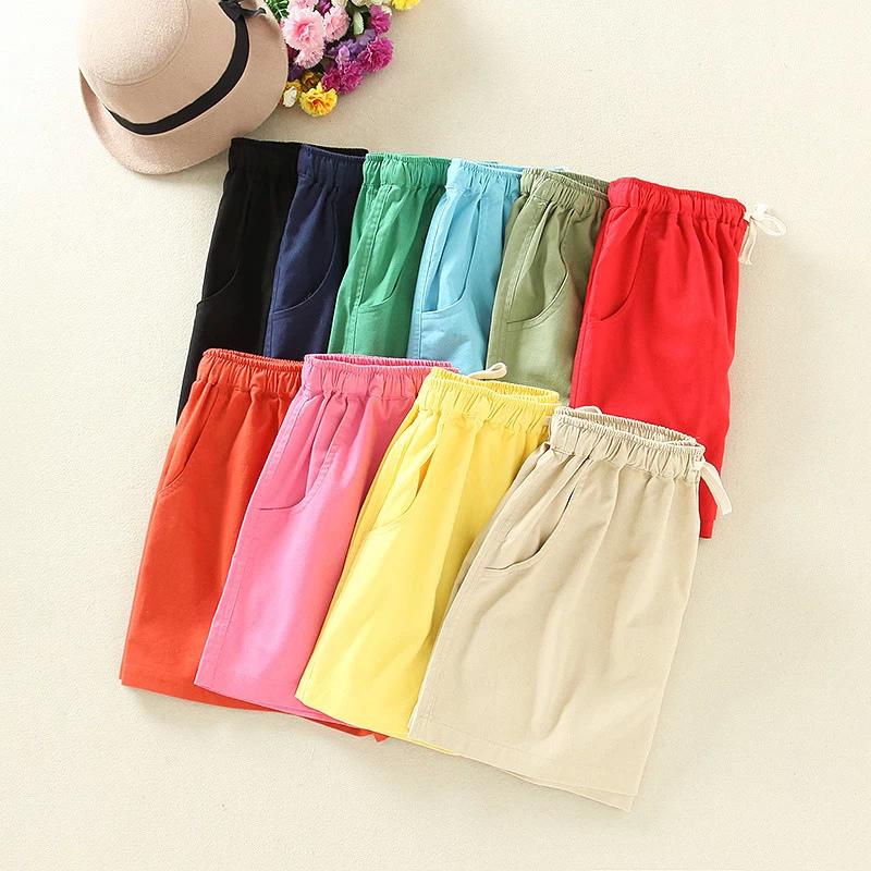 Fashion Women Elegant Cotton Linen Candy Color Elastic ...