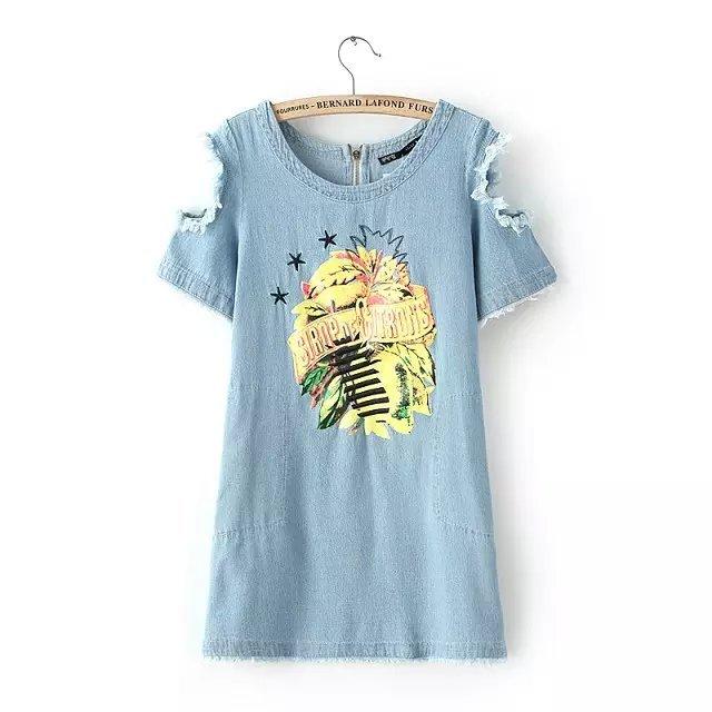 Fashion Women Elegant Denim blue Embroidery Off Shoulder ...