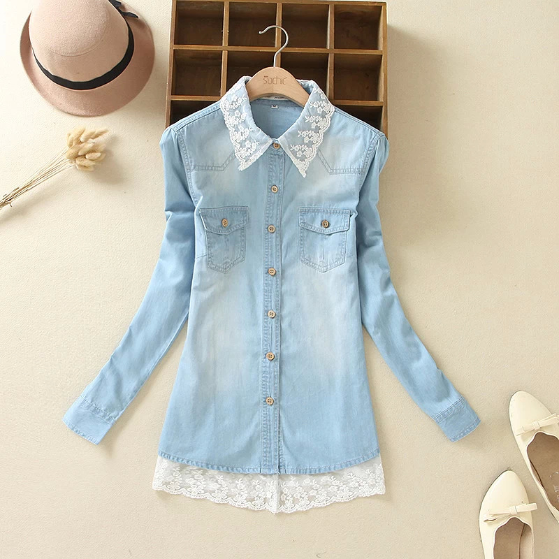Fashion Women Elegant Denim blue Lace Patchwork blouses ...